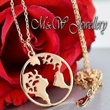 925 Sterling Silver Rose Gold Plated Chain Necklace Pendant EARTH / WORLD/ GLOBE
