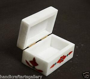 """4""""x3""""x1.5"""" White Marble Small Anneau Box Precious Carnelian Floral Inlay Deco"""