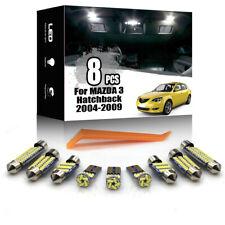 8x For Mazda 3 Hatchback 2004-2009 White LED Car Interior Lighting Package Kit
