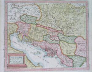 1710 ORIGINAL MAP CROATIA SLOVENIA DALMATIA HUNGARY BOSNIA SERBIA SLOVAKIA ITALY