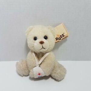 "Vtg Russ Luv Pets Get Well Soon Teddy Bear Plush W/ Tags 5.5"" Stuffed Animal Toy"