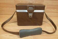 Unbranded Large Light Brown Hard Shell Vintage Camera Case / Holder w/ Strap