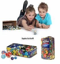 60 Assorted Glass Marbles Traditional Game Play VIntage Toy Metal Tin of Marble