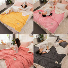 Grid Throw Blankets Soft Flannel Fleece Twin Solid Colors Queen King Bed Cover