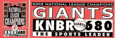 Lot of 2 San Francisco Giants Bumper Stickers - 2002 NL Champions/KYNO AM Fresno
