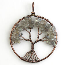 Natural Labradorite Chips Tree of Life Reiki Chakra Copper Pendant for Necklace