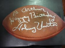 "Johnny Unitas ""Happy Birthday"" Autographed Football (to Arthur) with Auction COA"