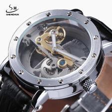 New Item Transparent Men Silver Automatic Mechanical Analog Business Dress Watch