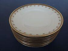 "8 Antique Limoges B & H 6"" Plates Roses Gold greek Key 1890s-1920 dessert B&B"