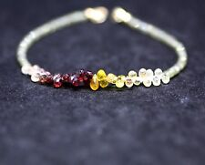 Natural Green Plum Yellow Sapphire Bracelet Solid 14K Yellow Gold 5th 45th Anniv