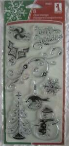 INKADINKADO clear stamps PATTERN PLAY HOLIDAY snowflake christmas tree happy
