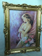 Gerahmte Gemälde Frau Barock 90x70 Wand Bild Frau Nackt blume Bild Kunstdruck D9