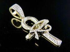 "10K Yellow Gold Genuine Diamond Eye of Horus Ankh Cross Pendant 3/10 Ct 1.25"""