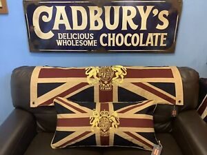 Royal Crest Vintage Union Jack Large Cushion By Woven Magic Tea Dyed 30x15inch