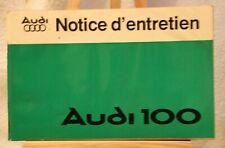 ANCIEN NOTICE D'ENTRETIEN VOITURE AUDI 100 DE 1978.