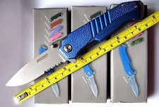 BULLET POCKET KNIFE BLUE HANDLE Fast Spring Assisted SERRATED BLADE - NEW