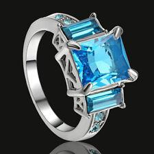 Aquamarine Square Cut CZ Center Gem Wedding Ring 10KT White Gold Filled Size 7
