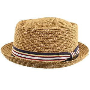 Men's Fancy Summer Straw Pork Pie Derby Fedora Upturn Brim Hat