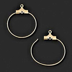"""100 GOLD Plated BEADING HOOPS or Wine Charm RINGS with Top Loop ~ 40mm / 1-1/2"""""""