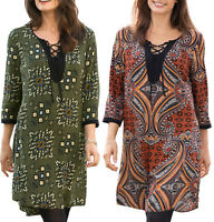UK SIZE 8 - 14 Ladies Indian Style Long Tunic Top or Dress in Orange or Green