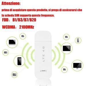 CHIAVETTA INTERNET KEY MODEM USB STICK 4G LTE WIFI SIM HOTSPOT ROUTER WIRELESS