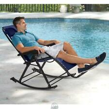 Zero Gravity Cool Mesh Rocker Chair Navy Ergonomic Portable Folding Ergo Lounger