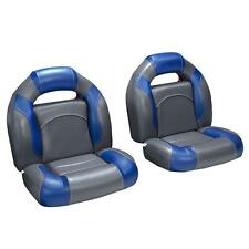 4 Piece Bass Boat Seats Charcoal and Blue