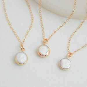 Round Natural Irregular Baroque Pearl Gems Silver Gold Plated Necklace Pendants