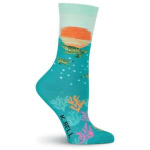 Sea Turtle Somewhere K Bell Womens Crew Socks New Colorful Novelty Water Fashion