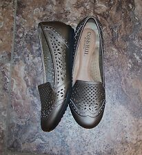 Cobb Hill By New Balance Ivy Pewter Leather Laser Cut Slip On Size 10
