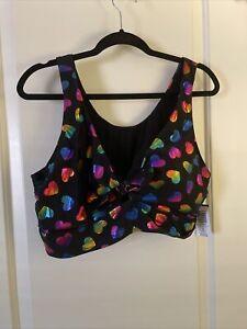 nwt torrid bikini top black heart print tie front 3x