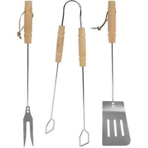 3 pcs BBQ Barbecue Tool Set Fork, Spatula and Tongs Stainless Steel FANTASTIC