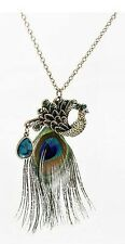 Vintage Style Multi Colour Feather Peacock Pendant Antique Bronze Necklace N170