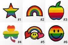 #198R Small Rainbow Star Apple Smiley face Flower Embroidered Sew Iron on Patch