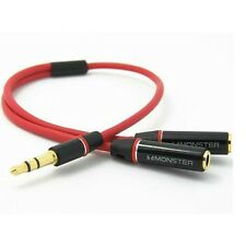 3.5mm Gold Male to 2 Dual Female Jack Splitter Headphone Y Audio Adapter Cable