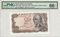 Spain 1970 100 Pesetas PMG Certified Banknote UNC 66 EPQ Gem Pick 152a