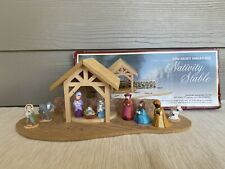 Vintage Hallmark Merry Miniatures Nativity Gift Set Stable & 9 Figures Christmas