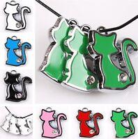 15/75pcs Rhodium Tone Cat Enamel Rhinestones Alloy Charms Dangle Pendants 6color