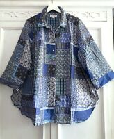 3X BOHO Denim Blue White Long Tunic Button Down Madras Plaid Blouse Plus Size