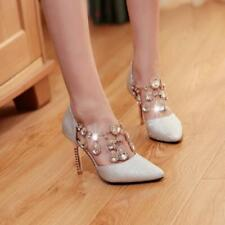 Womens High Heel Shoes Stiletto Party Wedding Mesh Rhinestone Pumps Pointed Toe