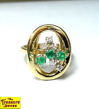 JY 8-Stone Diamond & Emerald Ring Circle Design Solid 14K Gold Ring Size 6 5.1g