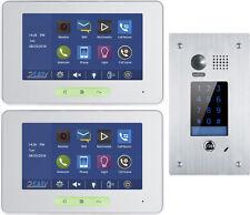 "7"" VIDEO DOORPHONE BELL SYSTEM STAINLESS STEEL KEYPAD DOOR OPENER 2 WIRE BUS"