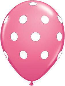 "10 pc - 11"" Qualatex Big Polka Dot Rose Latex Balloon Party Decoration Baby"