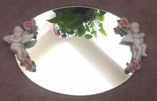 Oval Vanity Dresser Mirror with Ceramic Cherubs and Roses
