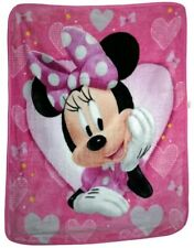 Disney Minnie Mouse Hearts and Bows Royal Raschel Plush Kids Throw Blanket. New