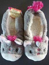 Einhorn Damen Hausschuhe Slipper Pantoffeln Socken Grau Unicorn 36 37 38 Primark