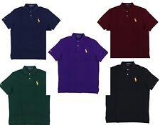 Ralph Lauren Mens Classic Fit Mesh Polo Shirt Gold Pony Medium Logo Big/Tall