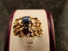 Unique Design 14k Solid Gold Ruby And Blue Star Sapphire Ring Size 7