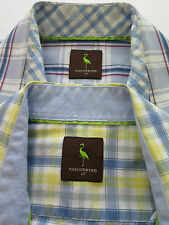 Lot of Two TailorByrd Short Sleeve Cotton Plaids Casual Shirts LT Large Tall EUC
