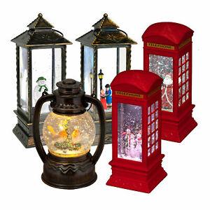 Christmas Water Lantern Swirling Glitter Spinner Light Up Xmas Decoration
